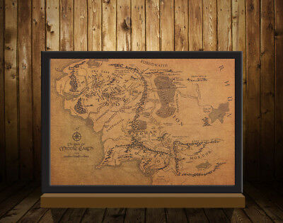 NEW VINTAGE MAP Of Middle Earth Lord Of The Rings Poster ...