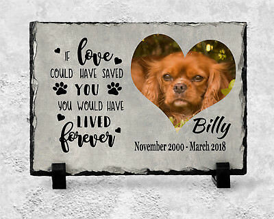 Pet Dog Photo Memorial Slate Plaque Beautiful Words Personalised - YOUR Picture