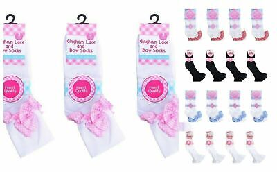 6 and 12 Pairs Girls Cotton School Socks for Kids Frilly Lace Ankle Bow Check