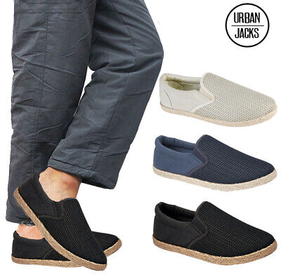 Mens Slip On Canvas Textile Boys Espadrilles Pumps Plimsolls Trainers Shoes Size