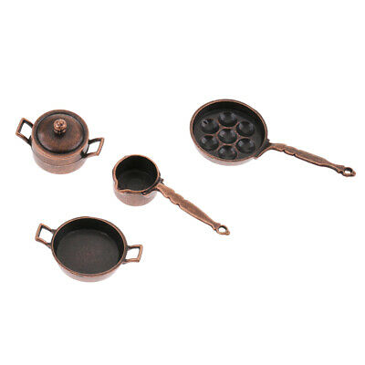 Dollhouse Kitchen Cookware Miniature Pots and Pans 1//12 scale Utensil Model