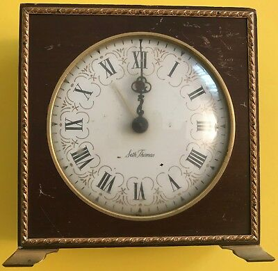 Vintage Seth Thomas Mechanical Alarm Clock Square Wooden Roman Numeral
