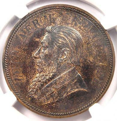 1892 South Africa Zar Penny KM-2 - NGC MS61 - Rare BU UNC Certified Coin!
