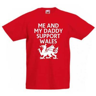 Me And My Daddy Support Wales Kid's T-Shirts - Children's Rugby Top