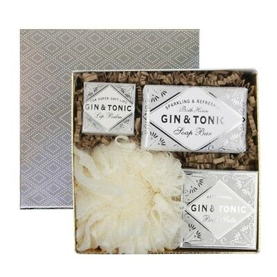 New Bath House Gin & Tonic Scented Gift Set In Silver Box Cocktail Collection