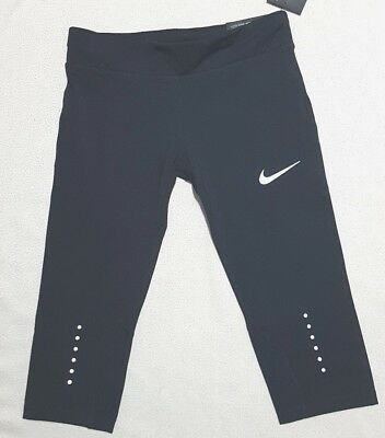 Nike Girl's Power Epic Run Cropped Running Tights Black 850484 010  Rrp £37.95