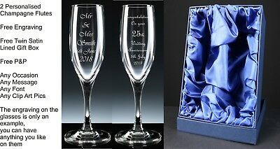 2 x Champagne Flutes, Wedding Gift, Anniversary Gift, Engagement Gift, Satin Box