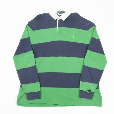 Vintage POLO by RALPH LAUREN Striped Rugby Shirt | Mens L | Long Sleeve 90s