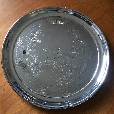 Vintage Swan Brand Chrome Plated Drinks Tray / Chinoiserie Willow Design