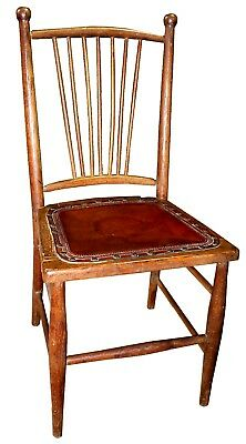 Antique Oak Smooth Red Leather Seat Vanity Chair