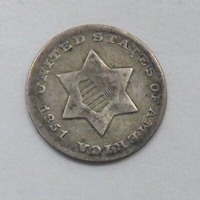 1851-O US Three 3 Cent Silver Coin Piece  (T1067)