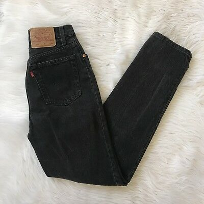 Vintage Rare levis 501 Buttonfly High Waisted Black Mom Jeans Sz 5/24/25