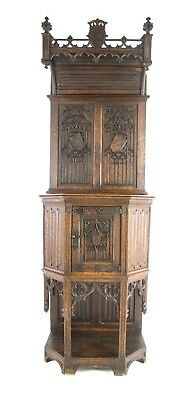 Ornate Gothic Cabinet, Antique Cabinet, Argenterie Cabinet, France 1880, B1123