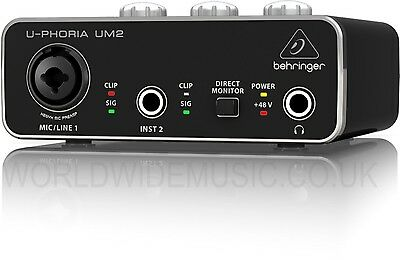 Behringer U-PHORIA UM2 Audiophile 2x2 USB Audio Interface with XENYX Mic Preamp