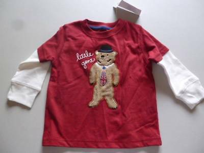 Gymboree London Lad Red Shirt Top Little Gent w/ Fuzzy Bear 6-12 Mos. NEW