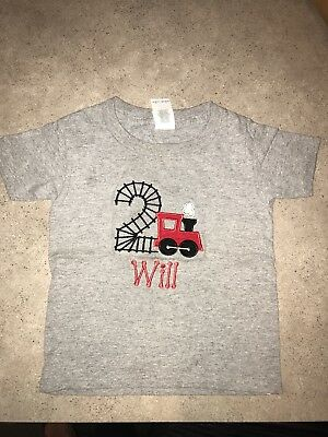Train 2nd Birthday Monogram Will Tshirt 2T