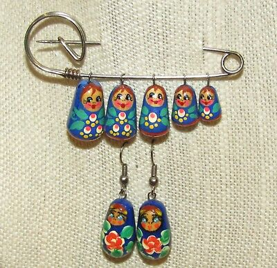 Adorable Cute Faces Nicely Detailed Nesting Doll Jewelry SET.From Russia!Vintage