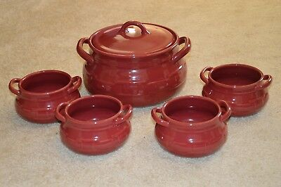Longaberger Soup Tureen Bean Pot with Lid and Four Bowls Paprika Red