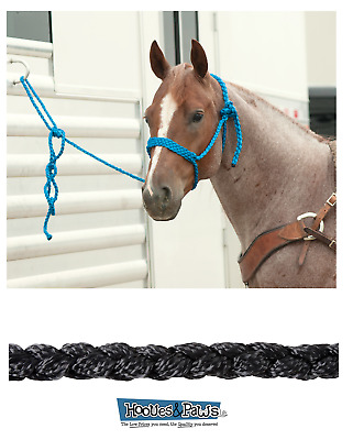 NEW HORSE TACK! Blue Adjustable Rope Halter w// Rawhide Knots