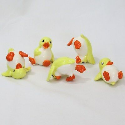 Fitz and Floyd set of 5 tumbling chicks ceramic Easter figurines