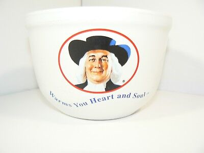 USED Quaker Oats Oatmeal Bowl Warms Your Heart and Soul White 1999 Vtg CHIPPED