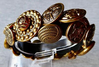 Vintage Jewelry - Antique Brass Buttons Bracelet - Handcrafted, One of a Kind