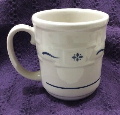 Longaberger Pottery 1 Woven Tradition Ivory Blue Trim Coffee Tea 12 Oz Mug Cup