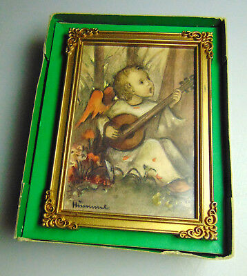 Vintage Hummel Print Wall Hanging Music Box West Germany Edelweiss Pull String