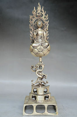 Collectible Decorated Old Handwork Tibet Silver Carved Buddha & Dragon Statue