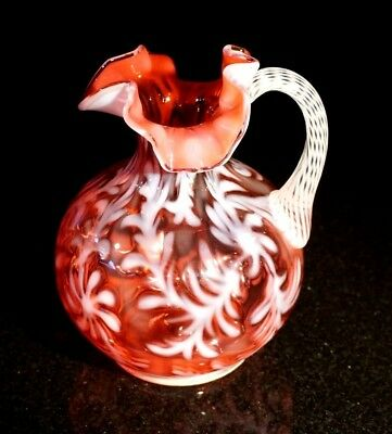Beautiful Fenton Cranberry Opalescent Daisy And Fern Pitcher