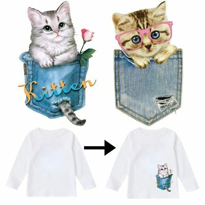 Cat Patches T-shirt Heat Transfer Sticker Washable Clothes Iron On Appliques New