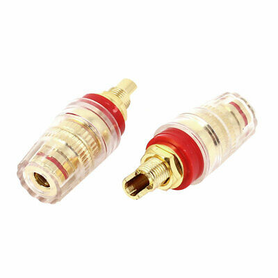 Gold Plated Amplifier Speaker 5mm Cable Hole Dia Terminal Binding Post Red x 2