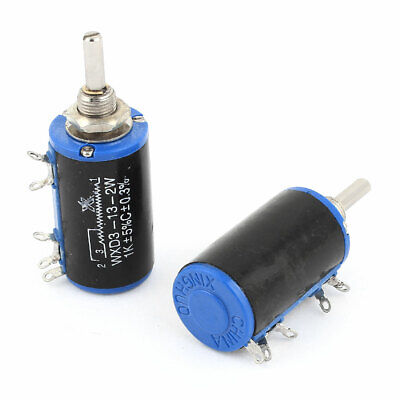 WXD3-13 1K Ohm 2W 4 Pins Rotary 10 Turn Wire Wound Potentiometer 2 Pcs