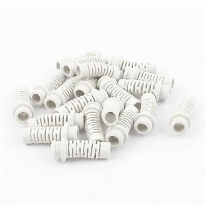 20pcs 34mm x 10mm x 6.5mm Strain Relief Cord Boot Protector Cable Hose White