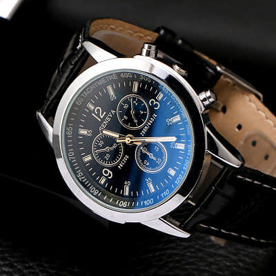 Fashion Men's Leather Military Alloy Analog Quartz Wrist Watch Business Watches
