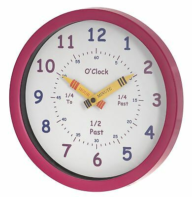 Unity 25 cm Henley Children's Learn the Time Wall Clock, Pink