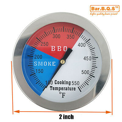 """2"""" 550F BBQ Charcoal Grill Pit Wood Smoker Temp Gauge Grill Thermometer 1pack"""