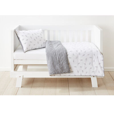 Grey Feathers  Cot Quilted Reversible Comforter Set Nursery Kids Infant Bedding
