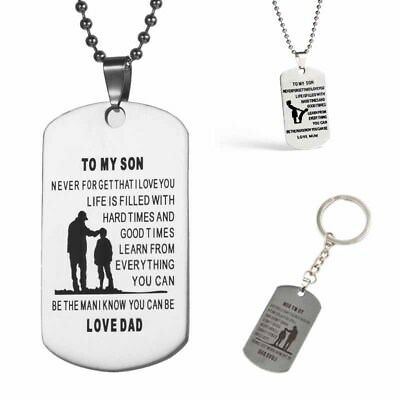 To My Son Tag Stainless Steel Necklaces/ Classic Inspirational Dog Collar