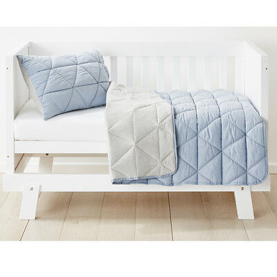Blue & Grey Color Reversible Cot Quilted  Comforter Set Nursery Kids  Bedding