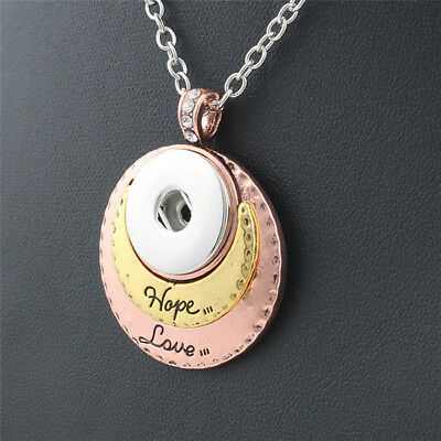 Crystal Hope Love Pendant Necklace Drill Snap Fit Noosa 18mm Chunk Charm Button
