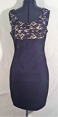 Ladies Ruby Rox Sexy Cream Black Lace Floral Dress Mesh Side Cut-Outs Large