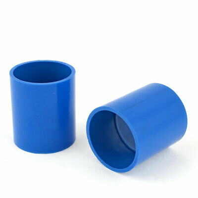 50mm Inner Dia Dual Ways Pipe Straight Fittings Connectors Blue 2 Pcs