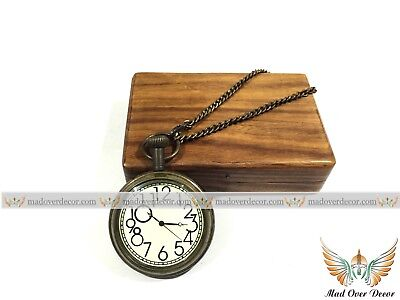 Vintage Brass Pocket Watch with Wooden Box Collectible Nautical Marine GIFT