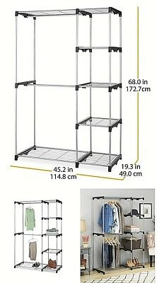 Portable Organizer Storage Rack Double Rod Freestanding Closet Silver New