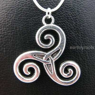 """Celtic Triskele Triple Spiral Pendant with 18"""" Sterling Silver Snake Chain"""