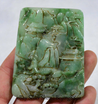 "3"" Old Chinese Natural Emerald Green Jade Jadite Carving House Landscape Pendant"