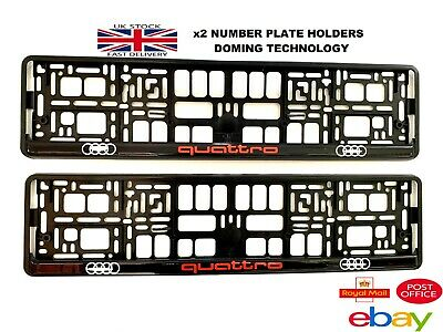 2 x AUDI QUATTRO Number Plate Surrounds Holder Frame New For Cars