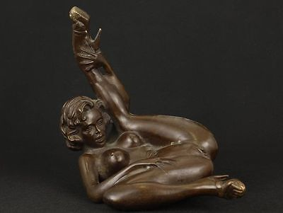 Nice Old Asian Bronze Collectable Handwork Casting Belle Ornament Statue Figure