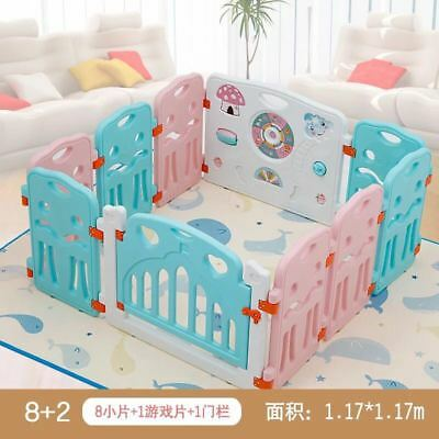 8 Panel Foldable Baby Playpen Kids Play Pens Indoor Outdoor Without Playmats